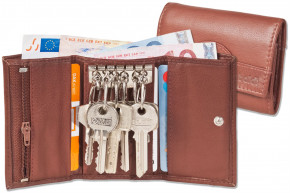 Rimbaldi® Key bag with 6 key hooks and purse made of natural cow leather in dark-brown