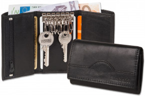 Rimbaldi®Key bag + walllet with 6 key hooks and purse made of natural cow leather in black
