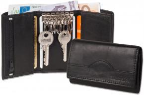 Rimbaldi® Schlüsseltasche + Geldbörse mit 6 Schlüsselhaken und Geldbörse aus naturbelassenem Rindsleder in Schwarz