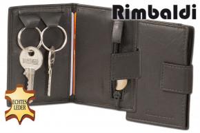 Rimbaldi® Schlüsseltasche mit Außen-Hartgeldfach und Kreditkartenfach aus weichem, naturbelassenem Rindsleder in Schwarz