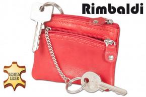Rimbaldi® Doppel-Schlüsseltasche mit großem Extrafach für den Autoschlüssel aus naturbelassenem Rindsleder in Rot