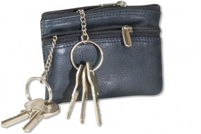 Rimbaldi® Double-key bag with large extra pocket for the car keys, made of natural cow hide in blue