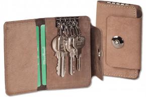 Woodland® Leder-Schlüsseltasche für 4 Schlüssel aus naturbelassenem, geölten Büffelleder in Dunkelbraun/Taupe