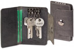 Woodland® Leder-Schlüsseltasche für 4 Schlüssel aus naturbelassenem, geölten Büffelleder in Anthrazit
