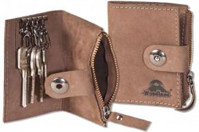 Woodland® Leder-Schlüsseltasche für 4 Schlüssel und kleinem Reißverschluss-Münzfach aus naturbelassenem, geölten Büffelleder in Dunkelbraun/Taupe
