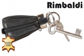 Rimbaldi® - Luxus-Schlüsseletui mit Extratasche aus weichem Rinder-Nappaleder in Schwarz