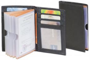 Rinaldo® Große Ausweis-Universaltasche mit sehr vielen Fächern aus weichem Rind-Nappaleder in Schwarz