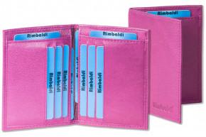 Rimbaldi® Ausweis-/Kreditkartenetui für 6 Kreditkarten und 4 Ausweise aus weichem, naturbelassenem Rindsleder in Lila