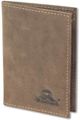Woodland® Ausweis-/Kreditkartenetui für 6 Kreditkarten und 4 Ausweis/KFZ-Scheine aus weichem, naturbelassenem Büffelleder in Dunkelbraun/Taupe
