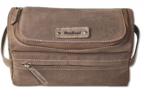 Woodland® Toiletry Bag in soft, natural buffalo leather in dark brown / taupe