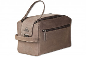 Woodland -  Large washbag made of soft, untreated buffalo leather in dark-brown/taupe