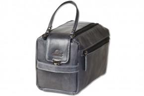 Woodland® Große Kulturtasche aus weichem, naturbelassenem Büffelleder in Anthrazit