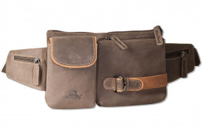 Woodland® Large beltbag with plenty of space made of soft, untreated buffalo leather in dark-brown/taupe