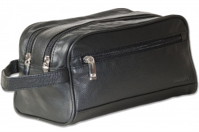Rimbaldi® - Large double-chamber wash bag with ample space made of high quality soft cow nappa leather in black