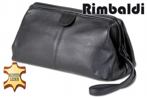Rimbaldi® - Cosmetic bag made of soft, high-quality cow nappa leather in black
