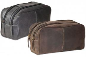 Woodlland® Kulturtasche mit 2 großen Reißverschlussfächern aus weichem, naturbelassenem Büffelleder