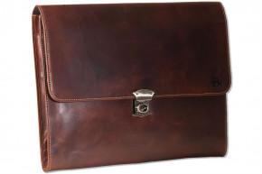 Woodland® Dokumentenmappe/Aktentasche aus besonders hochwertigem OIL PULL-UP Leder in Braun