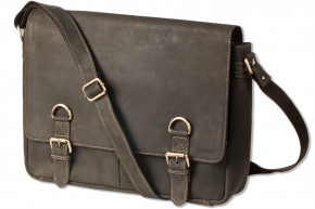 Woodland® Luxury shoulder bag with extra notebook bag made of natural buffalo leather in dark-brown/taupe