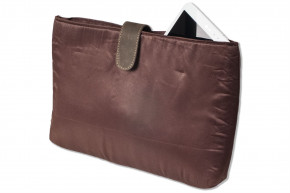 Woodland® - Umhängetasche mit extra Notebooktasche aus naturbelassenem Büffelleder in Dunkelbraun/Taupe