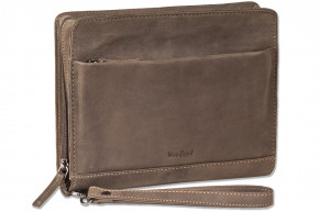 Woodland® Luxury shoulder bag made ​​of natural buffalo leather in dark-brown/taupe