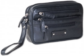 Rimbaldi® Practical wrist bag for man, made of soft, high-quality cow nappa leather in black