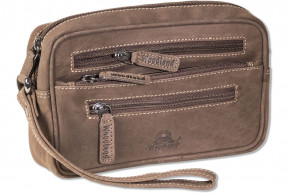 Woodland® Practical wrist bag for man, made from natural buff leather in dark-brown/taupe