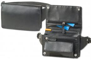 Rimbaldi® Kompakte Luxus-Bauchtasche - extrem Flach aus feinem Nappa-Rindsleder in Schwarz
