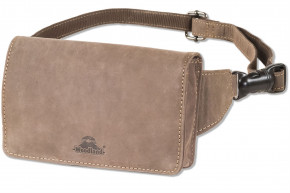 Woodland® Compact Luxury belt bag - extremely flat in buffalo leather in dark-brown/taupe