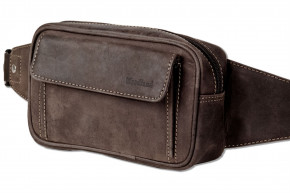 Woodland® Large belt bag with plenty of space made of soft, untreated buffalo leather in dark brown / taupe