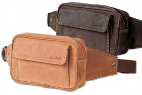 Woodland® - Large belt bag with plenty of space made of soft, untreated buffalo leather in cognac