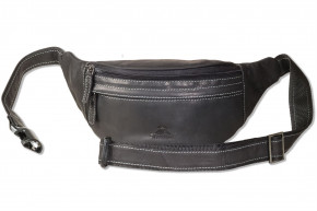 Woodland® Large belt bag with plenty of space made of soft, untreated buffalo leather in anthrazite