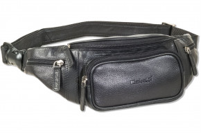 Rimbaldi® Large belt bag provides ample space by an extra front pocket, made of soft high-quality cowhide nappa leather in black