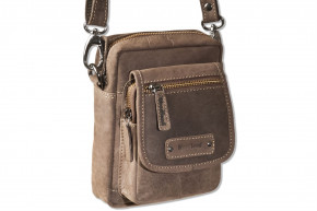 Woodland® - Shoulder bag made of natural buffalo leather in dark brown / taupe