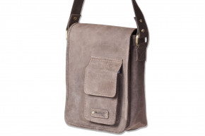 Woodland® Luxury shoulder bag made of soft, untreated buffalo leather in dark-brown/taupe