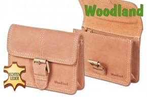 Woodland® Gürteltasche mit Schnalle aus weichem, naturbelassenem Büffelleder in Cognac