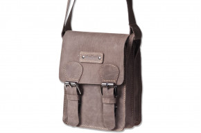 Woodland® - Small shoulder bag made ​​of natural buffalo leather in dark-brown/taupe