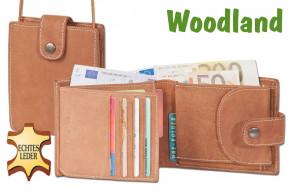 Woodland® Multibag 3 in 1: Geldbörse - Brustgeldbörse - Gürteltasche, alles in einem! Aus weichem, naturbelassenem Büffelleder in Cognac