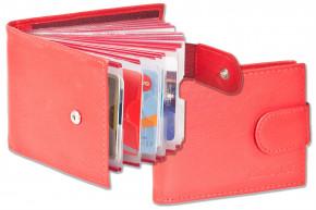 Rimbaldi® Kreditkartenetui für 18 Kreditkarten oder 36 Visitenkarten aus weichem, naturbelassenem Rindsleder in Rot
