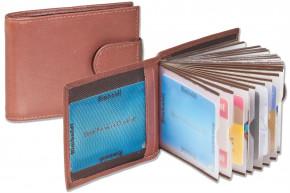Rimbaldi® Kreditkartenetui für 18 Kreditkarten oder 36 Visitenkarten aus weichem, naturbelassenem Rindsleder in Dunkelbraun