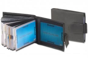 Rimbaldi® Kreditkartenetui für 20 Kreditkarten oder 40 Visitenkarten aus weichem, naturbelassenem Rindsleder in Schwarz