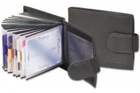 Platino - Kreditkartenetui für 20 Kreditkarten oder 40 Visitenkarten aus weichem, naturbelassenem Rindsleder in Schwarz