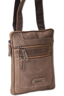 Woodland® natural buffalo leather shoulder bag in dark brown / taupe