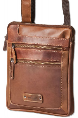Woodland® Flat shoulder bag in rustic oily buffalo leather in brown