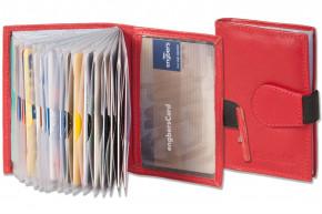 Rinaldo® XXL-Kreditkartenetui mit 18 Kartenfächern aus weichem, naturbelassenem Rindsleder in Rot