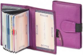 Rinaldo® XXL-Kreditkartenetui mit 18 Kartenfächern aus weichem, naturbelassenem Rindsleder in Aubergine