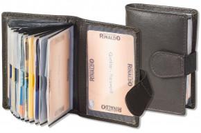 Rinaldo® XXL-Kreditkartenetui mit 18 Kartenfächern aus weichem, naturbelassenem Rindsleder in Dunkelbraun