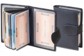 Rinaldo® XXL-Kreditkartenetui mit 18 Kartenfächern aus weichem, naturbelassenem Rindsleder in Dunkelblau
