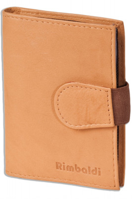 Rimbaldi® XXL Credit Card case with 20 card compartments made of soft, untreated cow-leather in nature colour