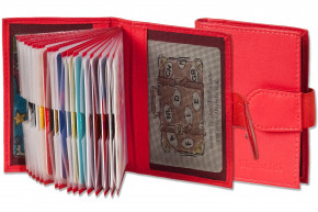 Rimbaldi® XXL Credit Card case with 20 card compartments, made of soft, untreated cow leather in red