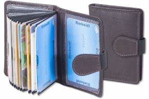 Rimbaldi® XXL Credit Card with 20 card compartments made of soft, untreated cow leather in dark-brown